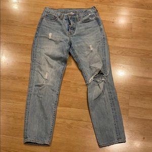 Levi Straight Leg Distressed Jean, Size 27